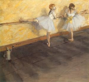 Dancers Practicing at the Bar, 1876 by Edgar Degas