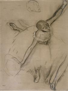Danseuse au bouquet et étude de bras by Edgar Degas