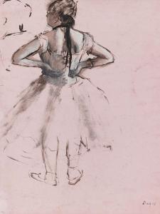 Danseuse debout, de dos, les mains à la taille by Edgar Degas