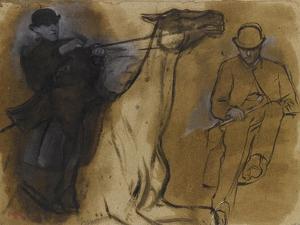 Deux études de cavalier by Edgar Degas