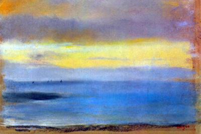 Edgar Degas Coastal Strip at Sunset by Edgar Degas