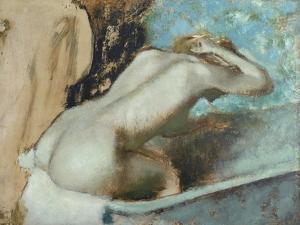 Femme assise sur le rebord d' une baignoire et s'épongeant le cou by Edgar Degas