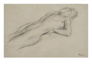 Femme nue allongée sur le dos, étude pour Scène de guerre by Edgar Degas