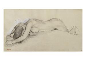 Femme nue allongée sur le ventre, la tête entre les bras by Edgar Degas