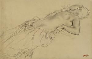 Femme nue, étendue sur le dos by Edgar Degas