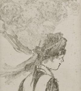 """Femme vue en buste, de profil à droite : """"La bonne"""" by Edgar Degas"""