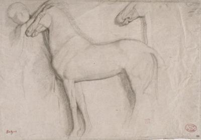 Feuille d'études : chevaux et croquis d'une tête d'adolescent by Edgar Degas