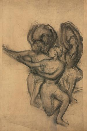 Group of Dancers; Groupe De Danseuses, C.1895-1900 (Charcoal on Joined Paper Laid Down on Board) by Edgar Degas