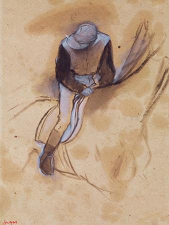 Jockey Flexed Forward Standing in the Saddle, 1860-90 by Edgar Degas