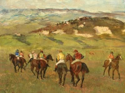 Jockeys on Horseback before Distant Hills, 1884 by Edgar Degas