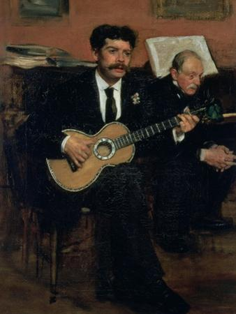 Portrait of Lorenzo Pagans, Spanish Tenor, and Auguste Degas, the Artist's Father, circa 1871-72 by Edgar Degas