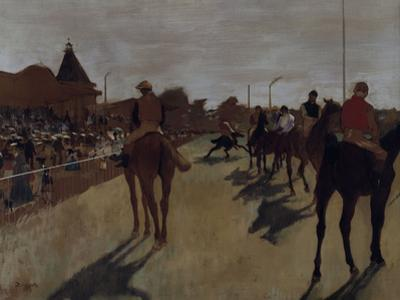Racehorses at the Grandstand, c.1866