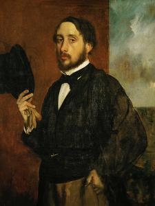 Self-Portrait: Degas Lifting His Hat by Edgar Degas