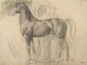Suivantes de Sémiramis et cheval, étude pour Sémiramis by Edgar Degas