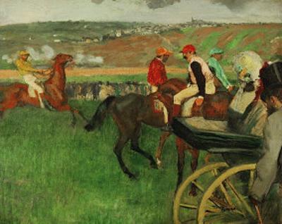 The Race Course: Amateur Jockeys near a Carriage, c.1876-1887