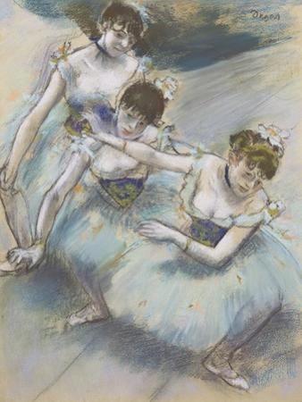 Three Dancers in a Diagonal Line on the Stage, C.1882 by Edgar Degas