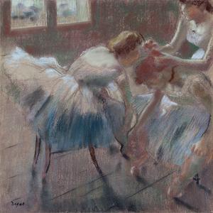 Three Dancers Preparing for Class by Edgar Degas