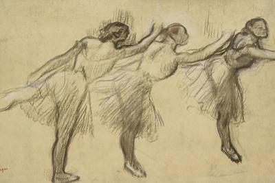 Three Studies of a Ballerina (Charcoal Rubbed and Touched with Pink and Brown Pastels on Thin by Edgar Degas