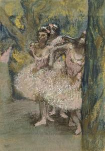 Trois danseuses en jupes saumon by Edgar Degas