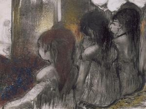 Trois filles assises de dos by Edgar Degas