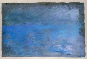 Waterloo Bridge, Brouillard, Pastel on Blue Paper 1901 by Edgar Degas
