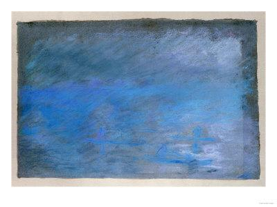 Waterloo Bridge, Brouillard, Pastel on Blue Paper 1901