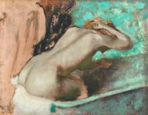 Woman Seated on a Bathtub by Edgar Degas