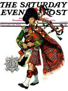 """""""Bagpipes,"""" Saturday Evening Post Cover, September 10, 1932 by Edgar Franklin Wittmack"""