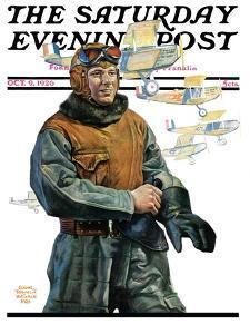 """Biplane Pilot,"" Saturday Evening Post Cover, October 9, 1926 by Edgar Franklin Wittmack"