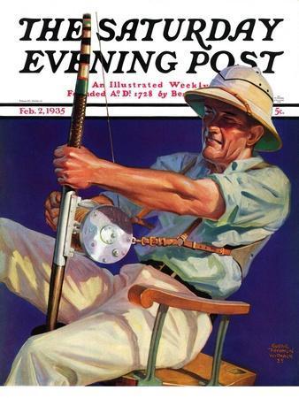 """Deep Sea Fisherman,"" Saturday Evening Post Cover, February 2, 1935"