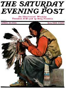 """""""Indian Headdress,"""" Saturday Evening Post Cover, April 10, 1926 by Edgar Franklin Wittmack"""