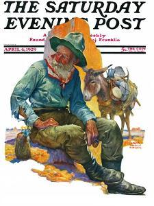 """""""Old Miner,"""" Saturday Evening Post Cover, April 6, 1929 by Edgar Franklin Wittmack"""