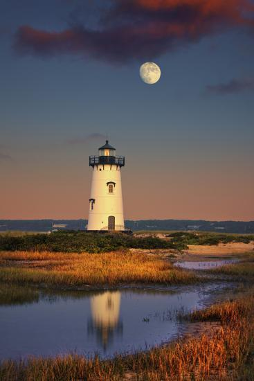 Edgartown Lighthouse at Dusk with the Moon Rising Behind-Jon Hicks-Photographic Print