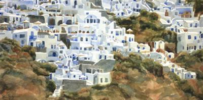 Santorini Hillside I by Edie Fagan