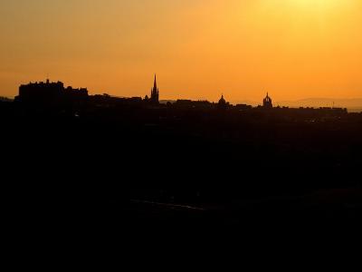 Edinburgh castle and city skyline at sunset, Scotland-AdventureArt-Photographic Print