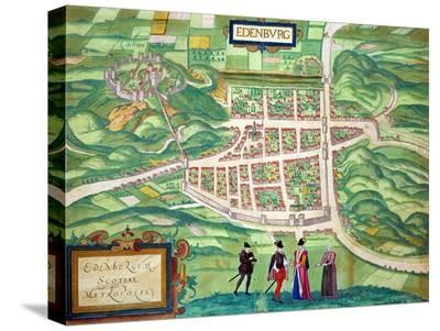 "Edinburgh Map, from ""Civitates Orbis Terrarum"" by Georg Braun and Frans Hogenberg circa 1572-1617-Joris Hoefnagel-Stretched Canvas Print"