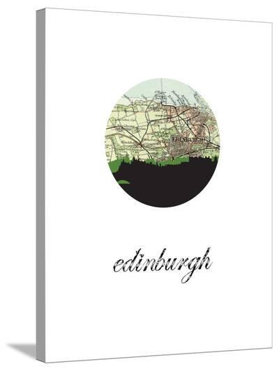 Edinburgh Map Skyline-Paperfinch 0-Stretched Canvas Print