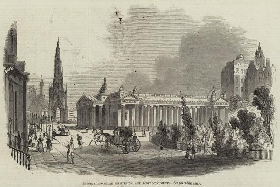 Edinburgh, Royal Institution, and Scott Monument--Giclee Print