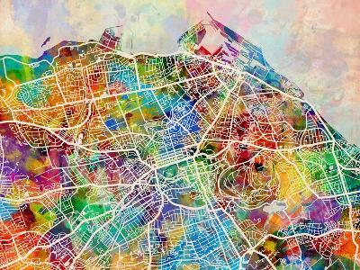Edinburgh Street Map-Michael Tompsett-Art Print