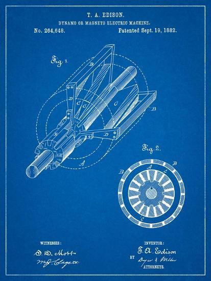 Edison Dynamo Electrical Generator Patent Print-Cole Borders-Art Print