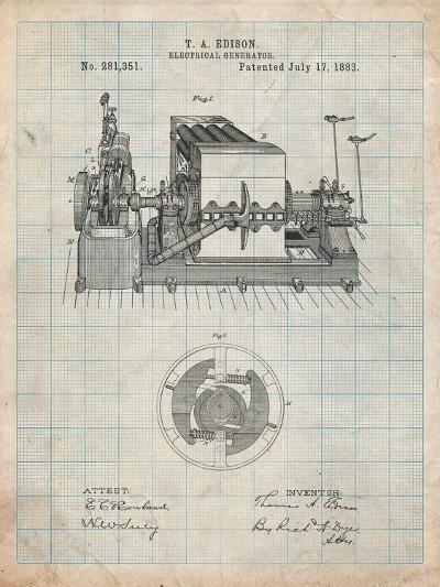 Edison Electrical Generator Patent Art-Cole Borders-Art Print