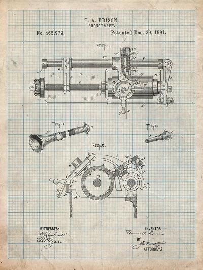 Edison Phonograph Patent-Cole Borders-Art Print
