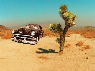 Edited Image of Classic Car in Amrican Desert-Salvatore Elia-Photographic Print