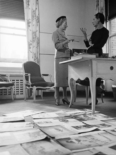 Editor Carmel Snow and Fashion Editor Diana Vreeland Reviewing Layouts in Harper's Bazaar Office-Walter Sanders-Premium Photographic Print