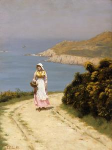 The Cliff Path by Edmund Blair Leighton