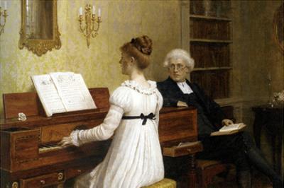 The Piano Lesson by Edmund Blair Leighton