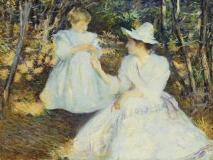 Mother and Child in Pine Woods by Edmund Charles Tarbell