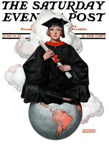 """""""Graduate on Top of the World,"""" Saturday Evening Post Cover, June 13, 1925 by Edmund Davenport"""