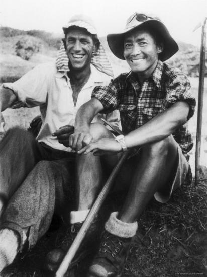 Edmund Hillary and Nepalese Sherpa Guide Tenzing Norgay Sitting Together-James Burke-Premium Photographic Print