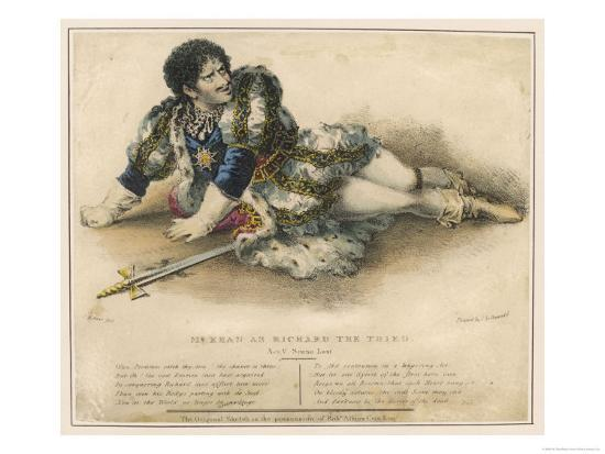 Edmund Kean English Actor in the Role of Shakespeare's Richard III-W. Gear-Giclee Print